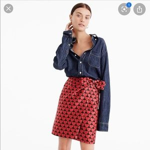 J. Crew Wrap Skirt in Jacquard Hearts & Bow Detail